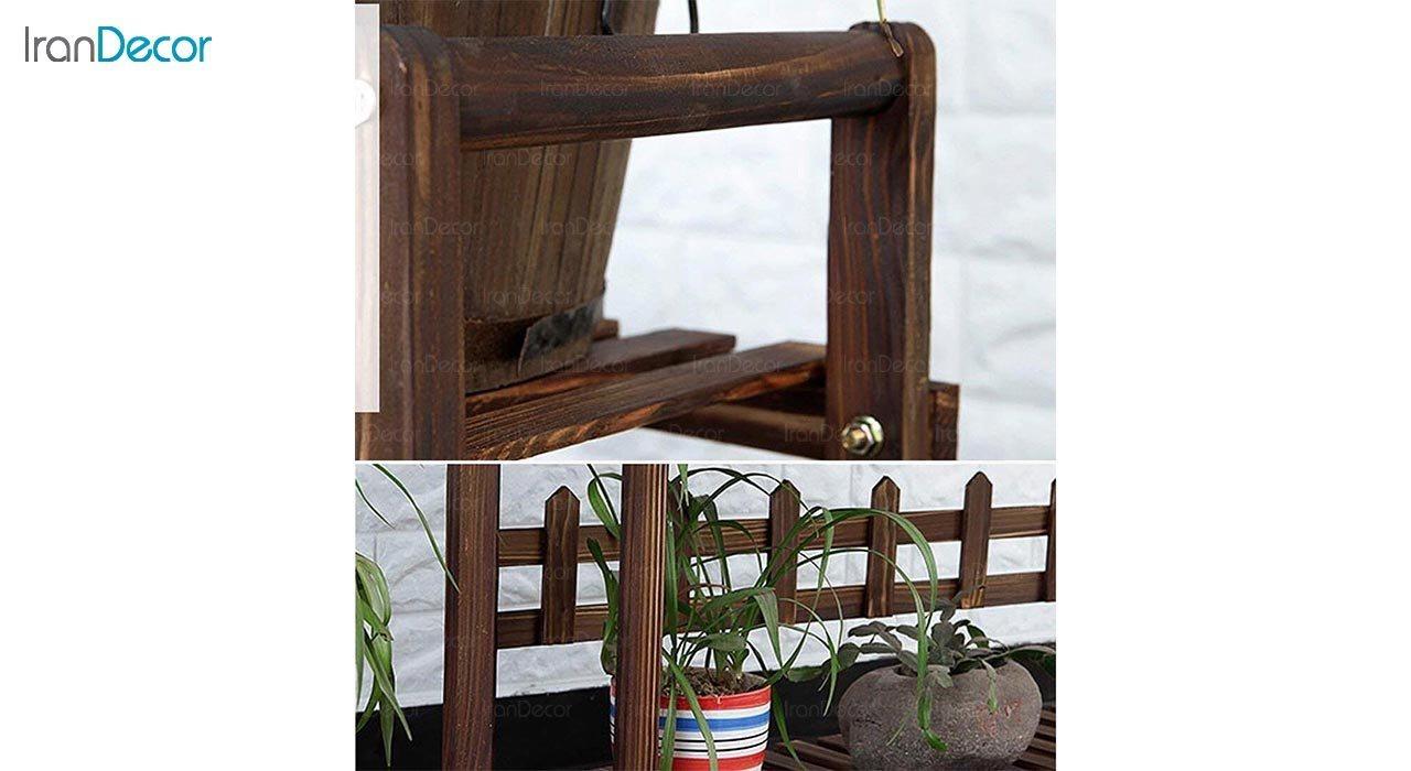 تصویر استند گل و گیاه چوبی مدل W4