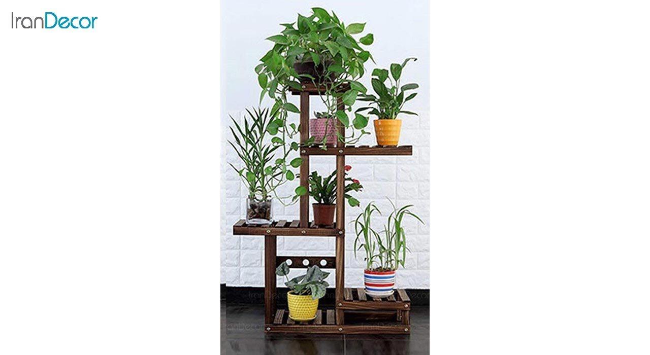 تصویر استند گل و گیاه چوبی مدل W55