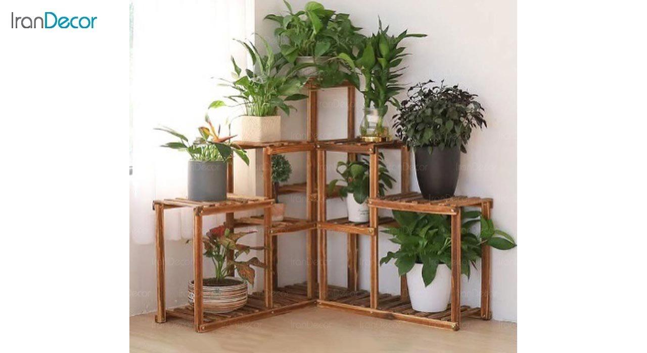 تصویر استند کنج گل و گیاه چوبی مدل W35