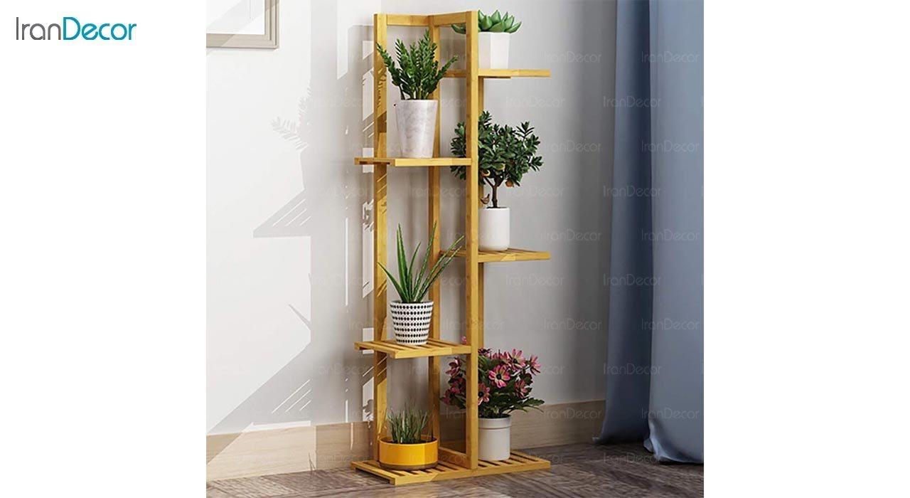 تصویر ست استند گل و گیاه چوبی مدل W31