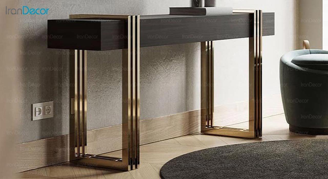 تصویر میز کنسول و آینه استیل مدل پلازا