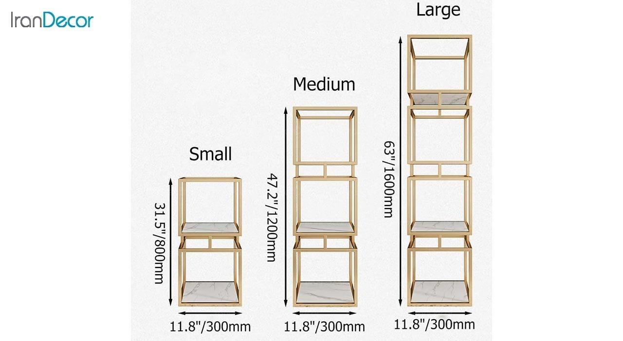 تصویر ویترین مدرن فلزی سه طبقه مدل Mega