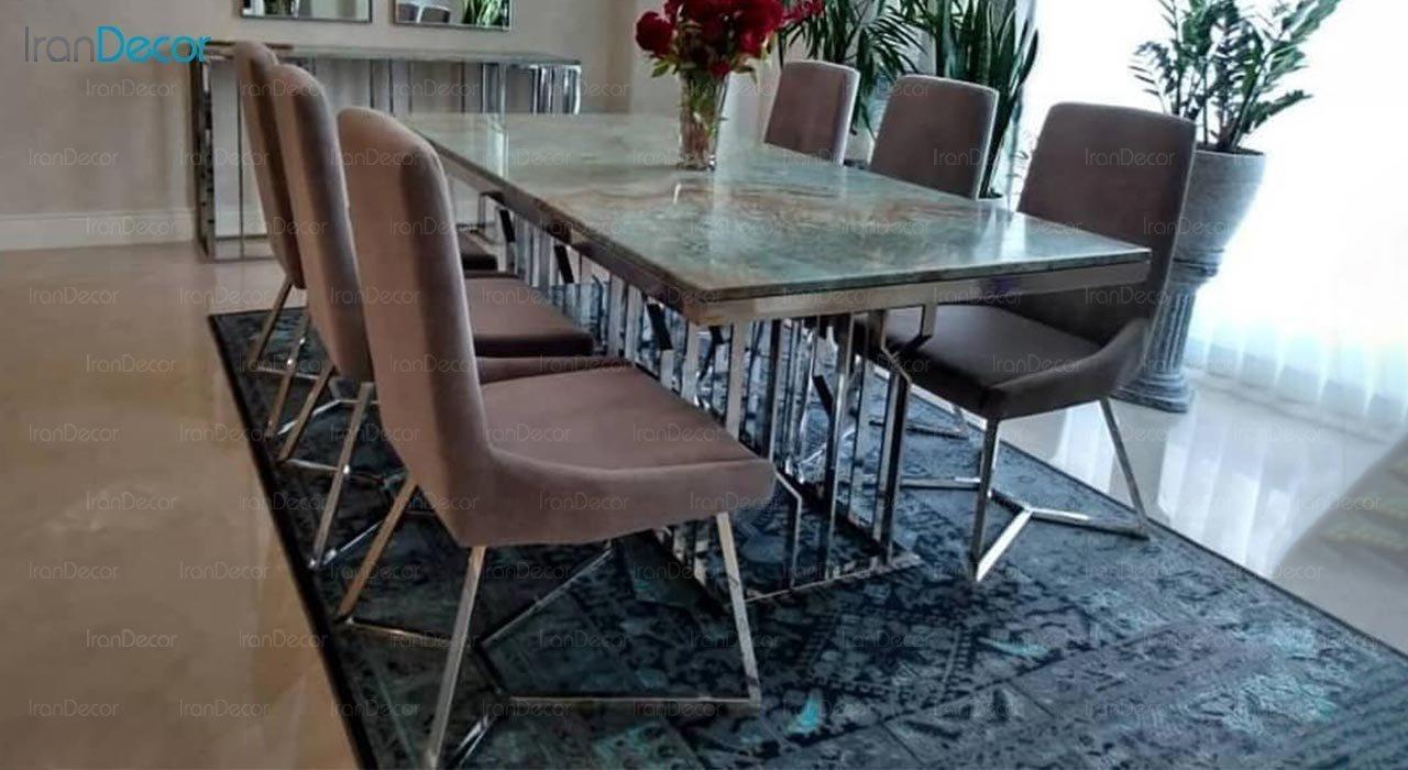 عکس ست میز ناهار خوری استیل ولنسی مدل اسپایدر کد TD214