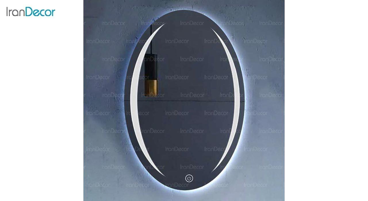 تصویر آینه بیضی هوشمند بک لایت مدل F-407