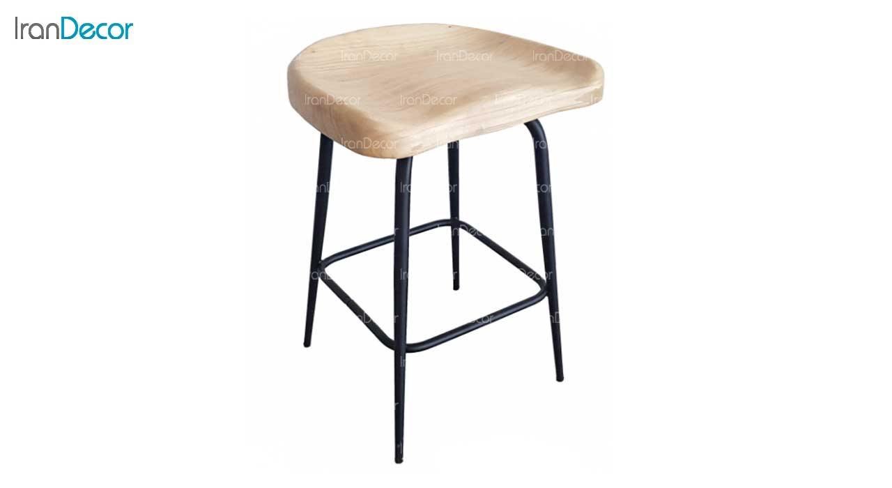 تصویر چهارپایه فلزی نهال سان مدل پلیکان با نشیمن چوبی فرم دار
