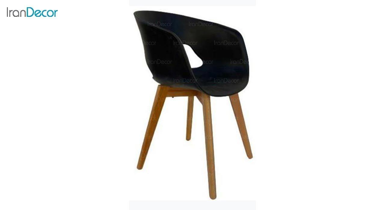 تصویر صندلی دسته دار با پایه چوبی مدل گلوری