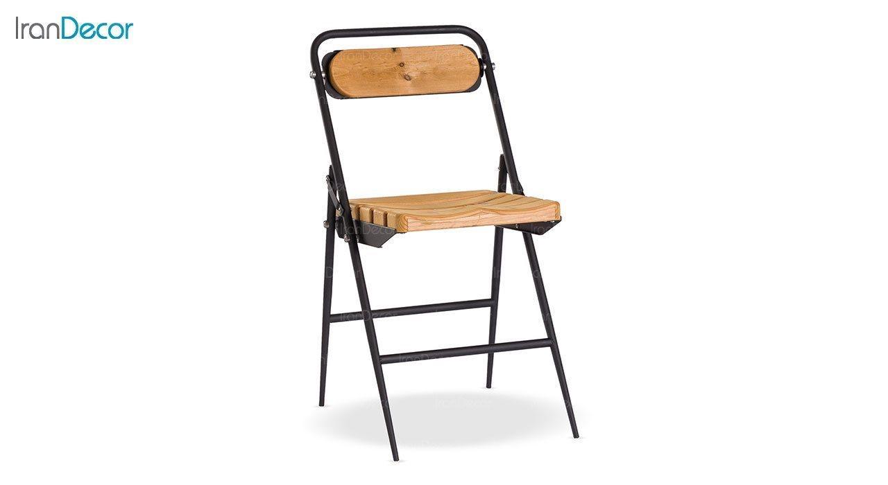 تصویر  صندلی تاشو چوبی نهالسان مدل 680 با نشیمن فرم دار