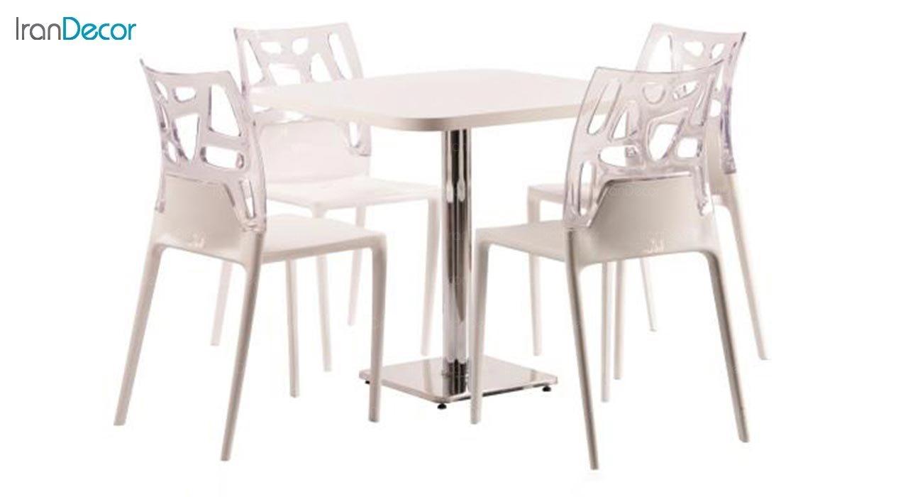 تصویر سرویس میز مدل تابان و صندلی سورن با پشتی پلی کربنات