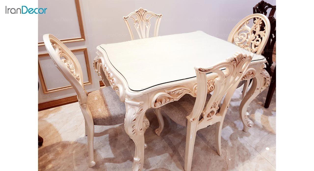 تصویر سرویس میز ناهار خوری سلطنتی مدل روبینا با صندلی روبینا و ویونا