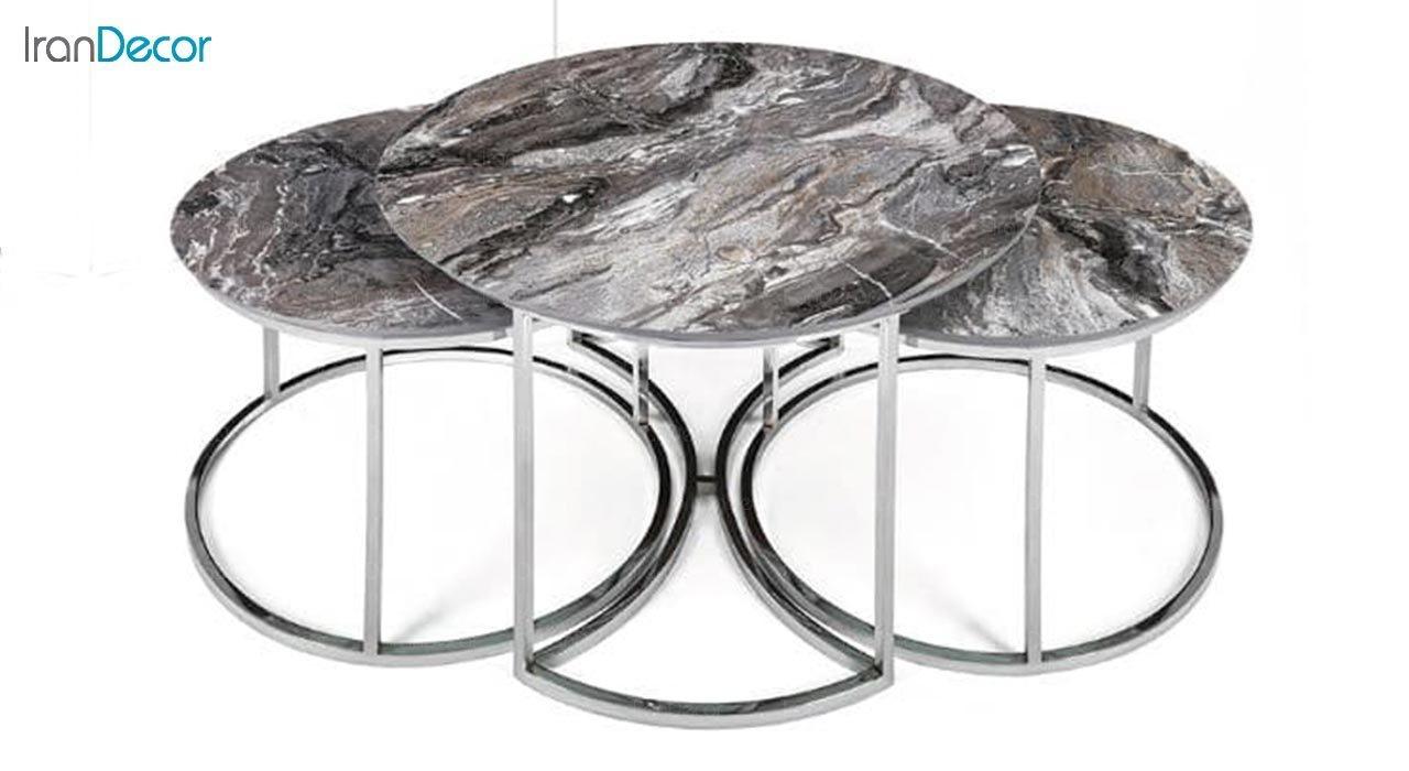 تصویر سرویس میز جلو مبلی مدل کارن با صفحه طرح سنگ