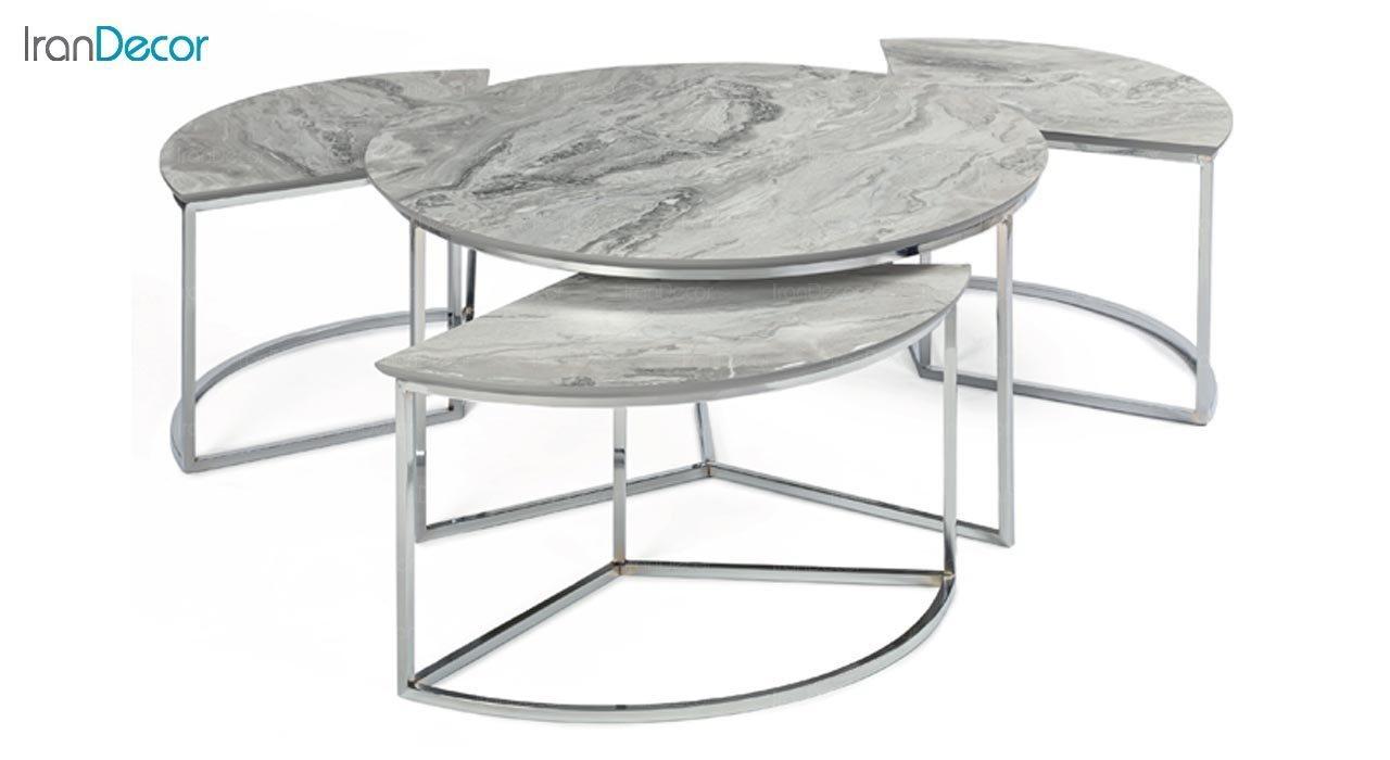 عکس سرویس میز جلو مبلی مدل مرسدس با صفحه طرح سنگ