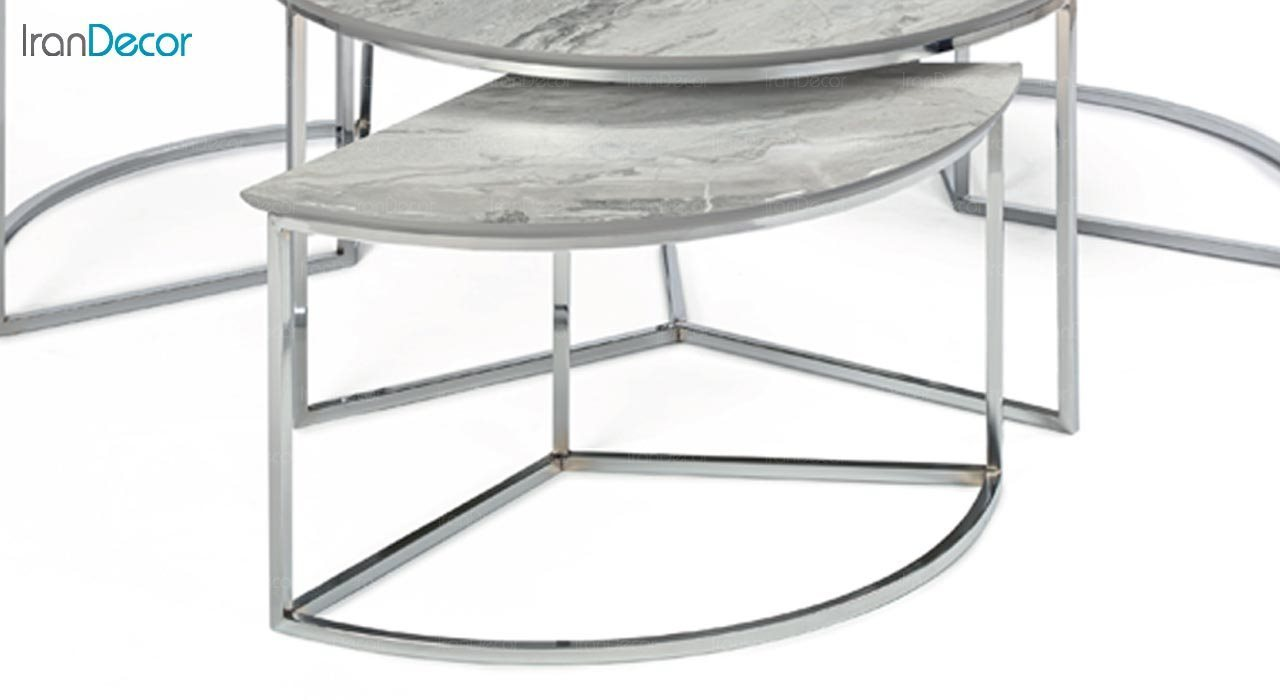 تصویر سرویس میز جلو مبلی مدل مرسدس با صفحه طرح سنگ