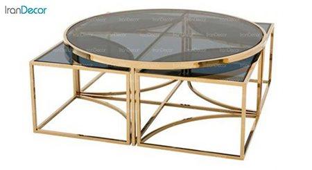 تصویر ست میز جلو مبلی مدل سوین با صفحه شیشه ای
