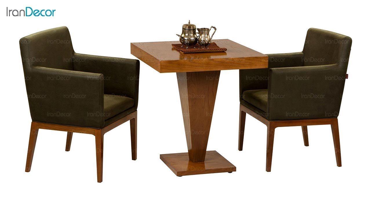 عکس صندلی دسته دار پایه چوبی جهانتاب مدل پارکر کد 1231