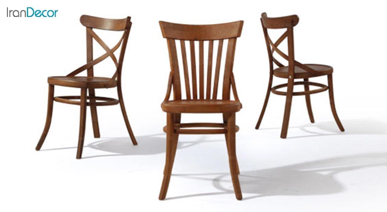 تصویر صندلی چوبی جهانتاب مدل لهستانی ضربدری کد 1611