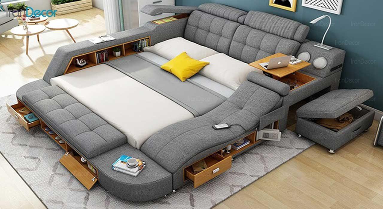 تصویر تخت خواب دو نفره هوشمند مدل گلکسی
