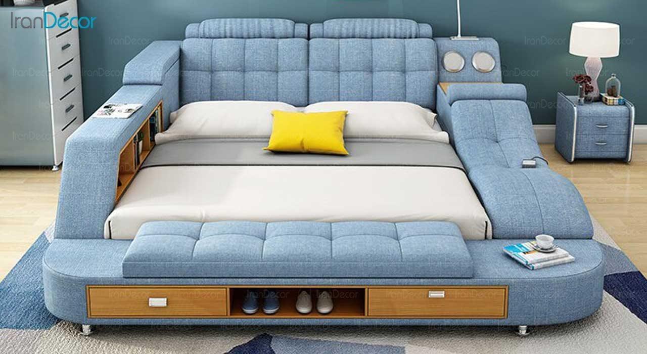 تصویر نمای رو به روی تخت خواب دو نفره هوشمند مدل گلکسی