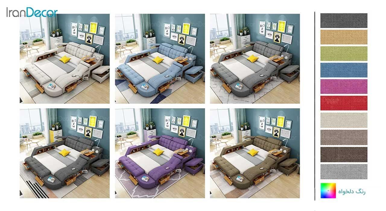 رنگ بندی تخت خواب دو نفره هوشمند مدل گلکسی