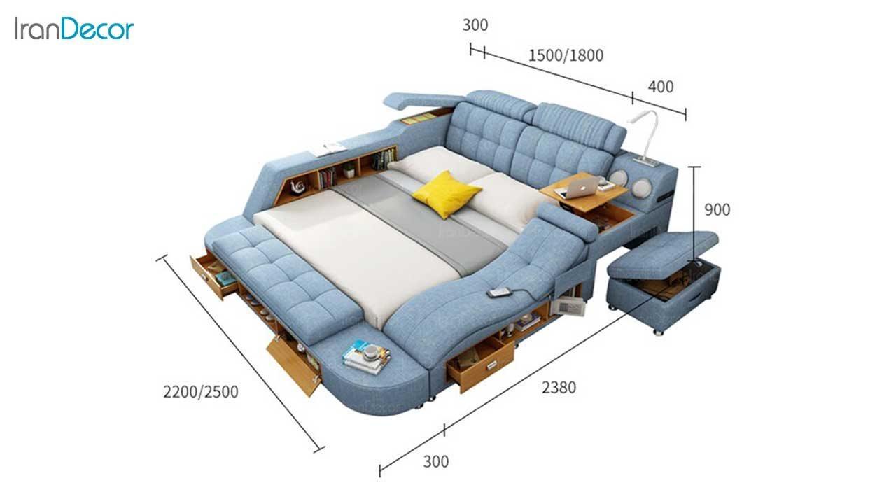 ابعاد تخت خواب دو نفره هوشمند مدل گلکسی