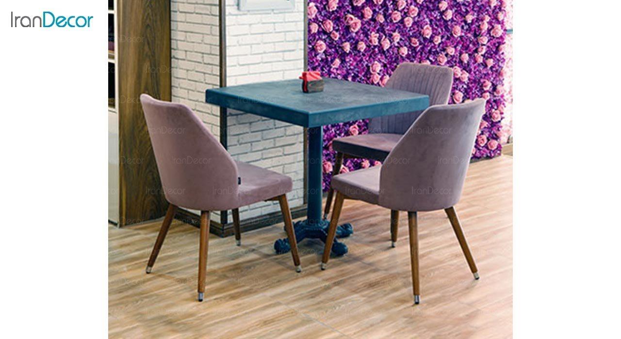 تصویر میز مربع پایه فلزی جهانتاب مدل S4 کد 4301