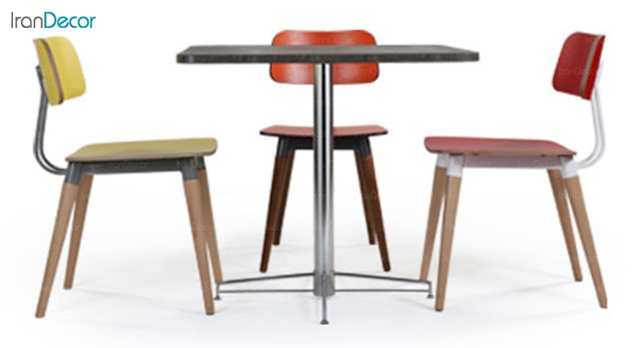 تصویر میز مربع پایه فلزی جهانتاب مدل 1023