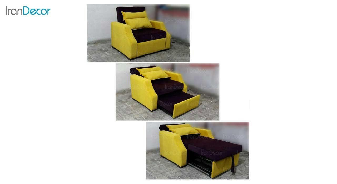 عکس مبل تختخواب شو کمجا مدل پرنس کد 2 زرد