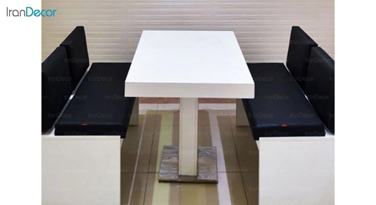 عکس میز مستطیل پایه فلزی جهانتاب مدل 1027WT کد 4361
