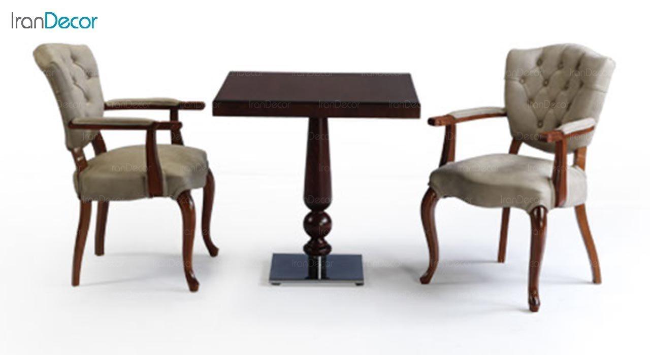 عکس میز مربع چوبی جهانتاب مدل W1029