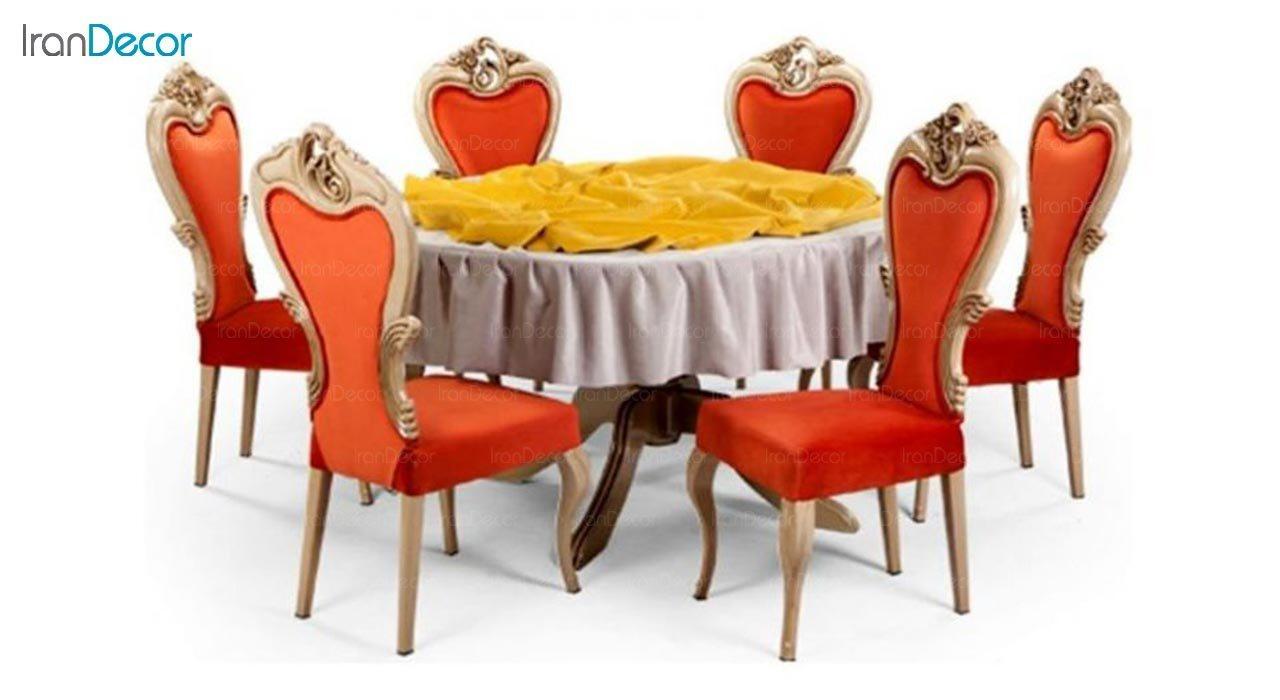 عکس میز گرد پایه چوبی جهانتاب مدل تارانتو کد 4501