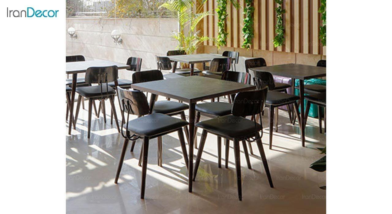 تصویر میز مربع پایه چوبی جهانتاب مدل لیپا