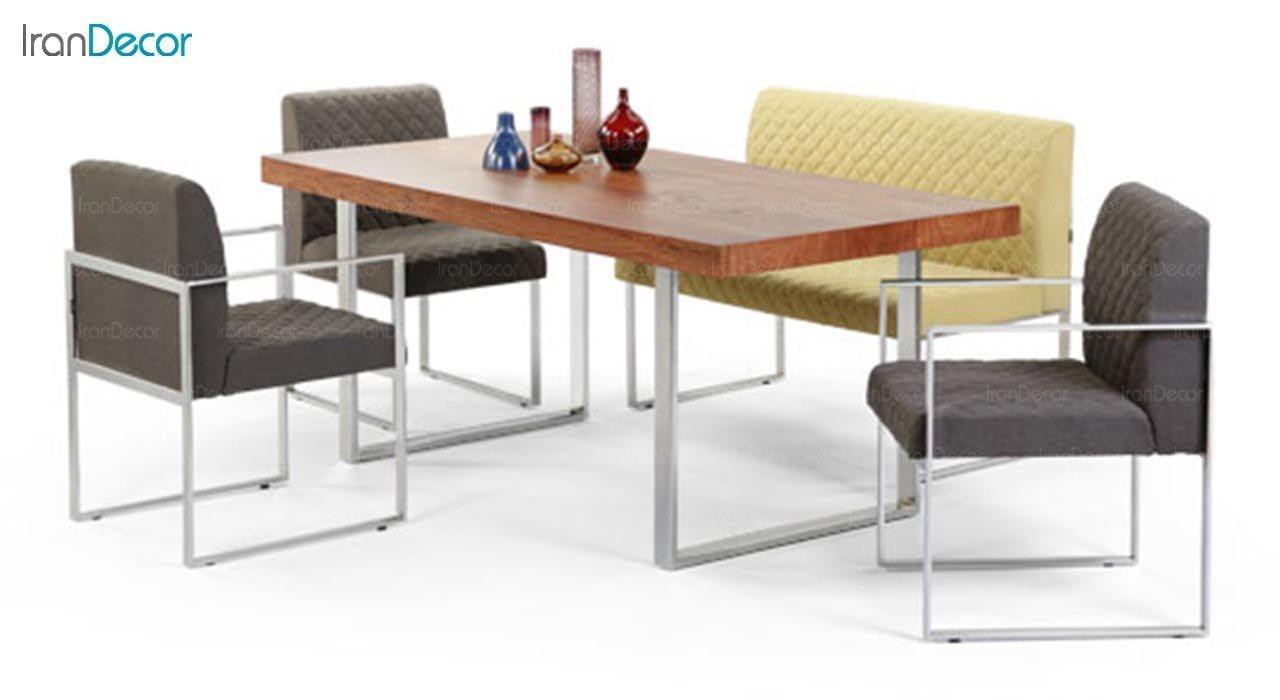عکس میز مستطیل پایه فلزی جهانتاب مدل تونا کد 2036