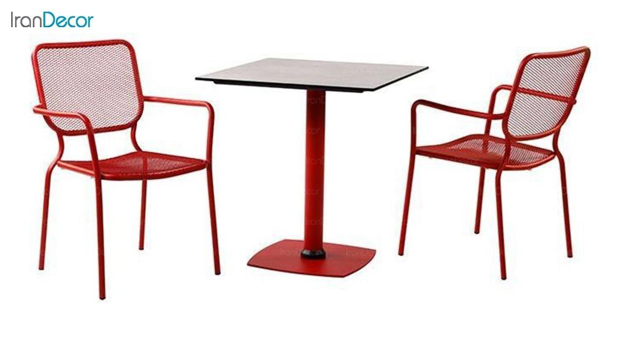 تصویر میز مربع پایه فلزی جهانتاب مدل کارینا کد 2025