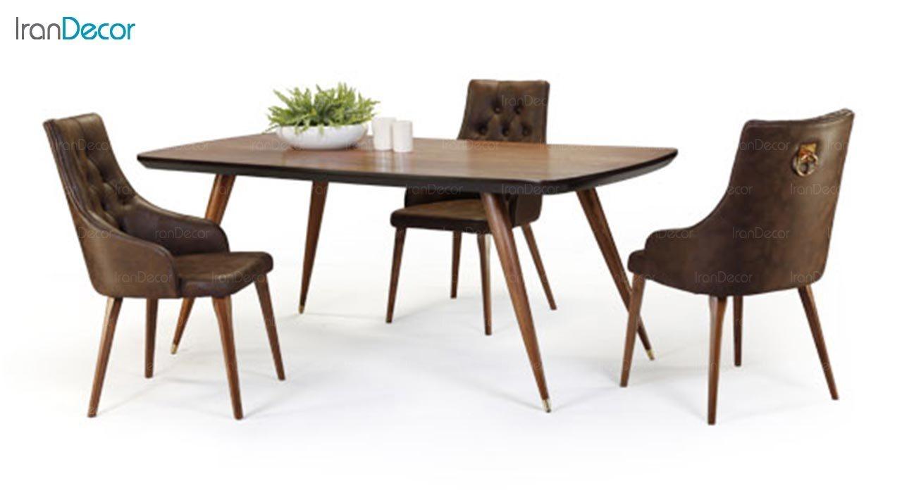 تصویر میز مستطیل چوبی جهانتاب مدل رومن کد 4904