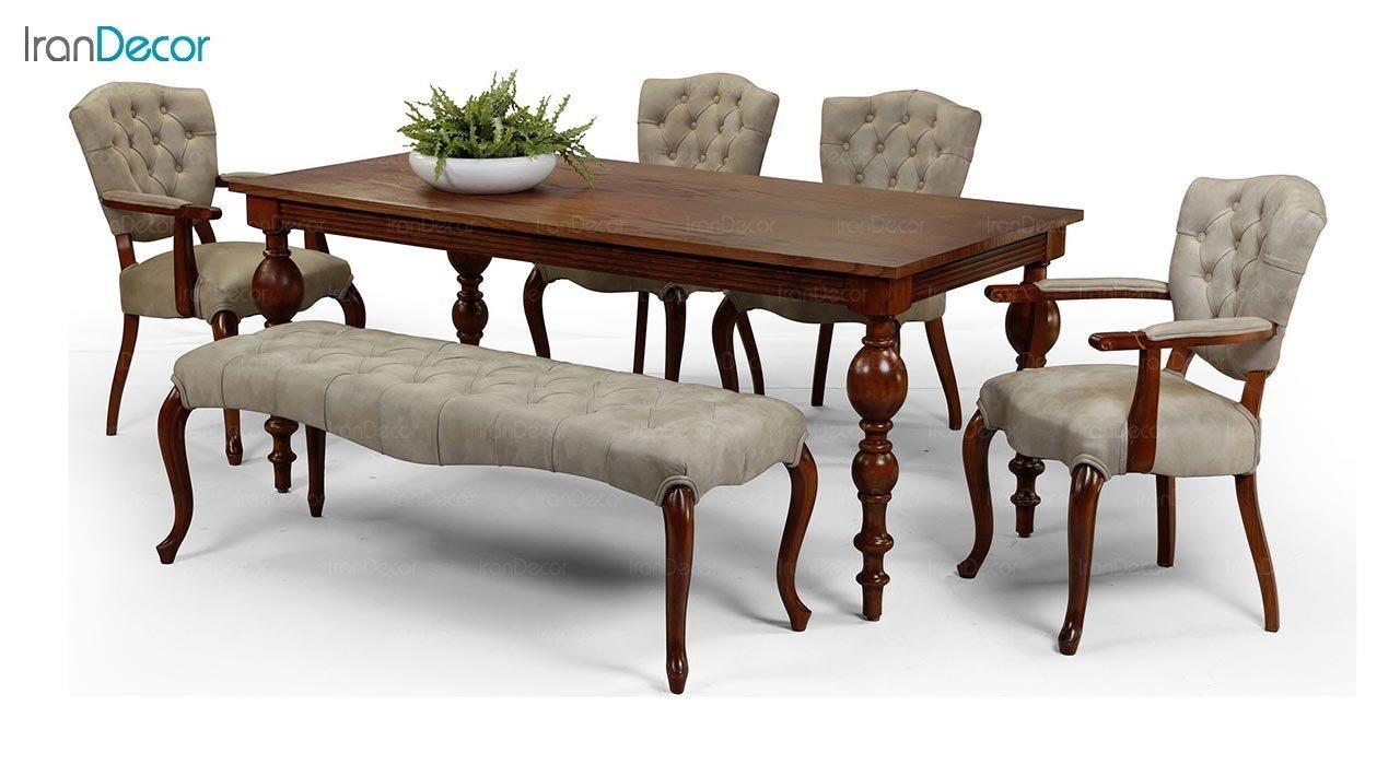 عکس میز مستطیل چوبی جهانتاب مدل لوتوس کد 4905