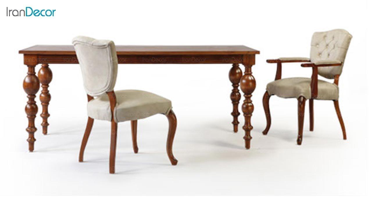 تصویر میز مستطیل چوبی جهانتاب مدل لوتوس کد 4905